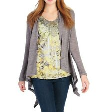 New One World Printed Knit Flutter Sleeved Top & Slub Knit Cardigan Set, Size: X