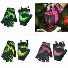 QEPAE Non-Slip Gel Pad Gloves Mens Womens Sportswear Cycling Half Finger Gloves
