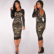 Women Bodycon Sexy Hollow Out Backless Party Cocktail Long Sleeve Slim  Midi Dre