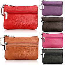 Fashion Lady Kids Men Leather Small Coin Card Holder Key Ring Wallet Pouch Purse