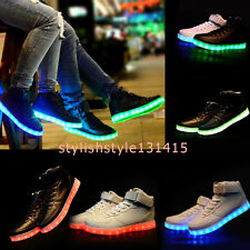 LED Light Up Shoes LED Sneakers LED Trainers White Hi Tops Led Lace Unisex Usb