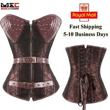 Gothic Brocade Faux Leather Boned Corset Overbust Waist Cincher Lingerie Brown