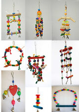 Colorful Wooden Hanging Bird Toys Rope Perch Parrot Parakeet Cockatiel Budgie