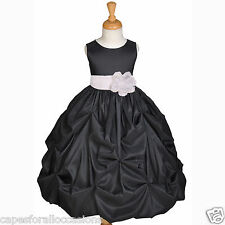 TAFFETA BLACK FLOWER GIRL DRESS 6M 9M 12M 18M 2 2T 3 3T 4 4T 5 5T 6 6x 7 8 9 10
