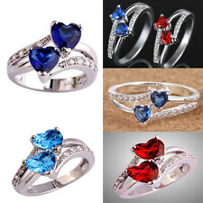 Wedding Ring Size 6-9 Fashion Women 925 Silver Love Ring Heart Crystal Jewelry