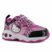 Hello Kitty Leopard Shoes Size 20-34 Glitter Light Blink Trainers Sneakers NEW