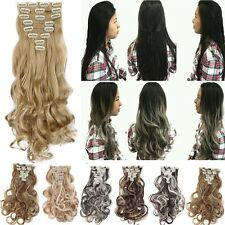 Real 8PC 18 Clips Clip In Hair Extensions Hair Extentions Human Hair Blonde H86