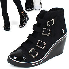 Women's straight tip 4 buckle zip high wedge heels fabric fashion sneakers boots