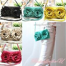 Rose Leather Wallet Clutch Makeup Pencil Cell Phone Case Cross-body Bag Pouch