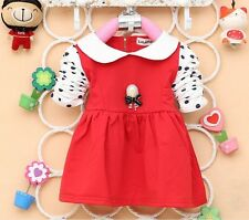 New Baby Girls Party Polka Dot Dress Long Sleeve Red Pink Navy Yellow Dress