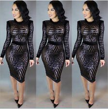 Sexy Women Sequins Bodycon Slim Cocktail Clubwear Evening Party Mini Short Dress