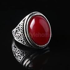 Handmade Charm Silver Engraved Men Male Red Oval Gemstone Finger Ring Size 8-10