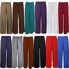 New Womens Plus Size Flared Palazzos Trousers Wide Leg Stretch Pants 8-26