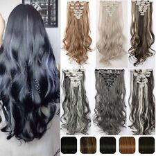 Real Natural Remy Clip in Hair Extensions 8 Pieces Full Head As Human Hair H89