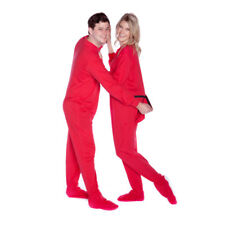 Red Cotton Jersey Knit Adult Footed Pajamas Onesie w/ Drop seat