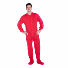 Big Feet PJs. Red Cotton Jersey Knit Adult Footed Onesie Pajamas