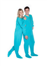 Big Feet PJs Turquoise Jersey Knit Adult Sleeper Footed Pajamas