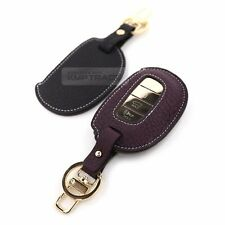 4Button Stitched Smart Key Leather Case Cover Holder Pouch Hook BF-6 for HYUNDAI