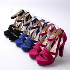 Girl's Sandals US Size New Faux Suede Peep Toe High Heel Strap Lady's Shoes s613