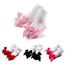 Newborn Kids Baby Girls Socks Shoes Anti-Slip Cute Bow Slipper Shoes 0-24 Months