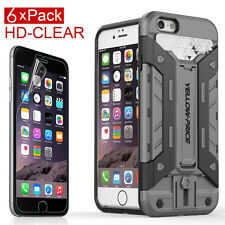iPhone 6 6S Hybrid Armor Rugged Heavy Duty Hard Case Skin+6xHD Clear Protectors
