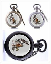 Pendant Steampunk Rabbit  Pocket Watch Necklace Retro Vintage Quartz Gift Chain