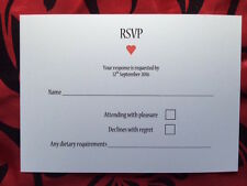 RSVP Wedding Cards A6 x 50 heart design dietary included