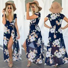 Fashion Women V-Neck Short Sleeve Full length Floral Print Maxi Long Dress WST
