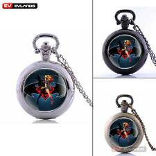 Vintage Necklace Pendant Superman Quartz Pocket Watch Retro Antique Chain Gift