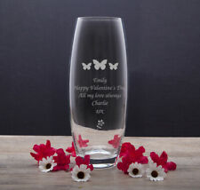 Personalised Engraved Glass Bullet Vase Gift Mothers Valentines Day Wedding Her