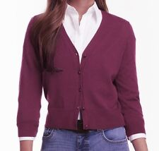 CHAPS by Ralph Lauren Womens Sweater Size PXS V-Neck Cardigan Cotton Purple NEW