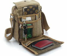 Men Vintage Canvas Leather Shoulder Bag Military Messenger School Satchel Small