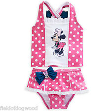 NWT DISNEY STORE MINNIE MOUSE 2-PC PINK TANKINI SWIMSUIT BABY GIRL 6/9,18/24M