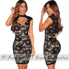 Sexy Floral Lace Nude Illusion Formal Evening Party Peep Hole Mini Bodycon Dress
