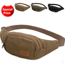 Mens Travel Bag Canvas Waist Fanny Pack Money Belt Hip Pouch for Outdoor Hiking