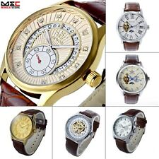 New Classic Men's Brown Leather Dial Skeleton Mechanical Sport Army Wrist Watch