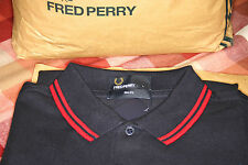 BNWT Fred Perry Dark Navy & Blood Red Twin Tipped M3600 Slim Fit Polo Size Large