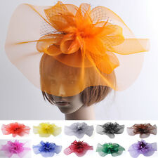 women fascinator feather hair clips hat bridal wedding proms derby ascot races