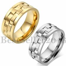 9MM Mens Stainless Steel Gold Silver Tone Motorcycle Wedding Ring Band Size 7-13
