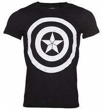 Men's Black Civil War Captain America Distressed Shield T-Shirt