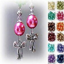 Earrings, Silver Bow Charm and Pearl, clip on or pierced, colour choice