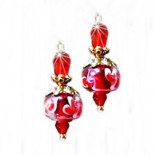 Earrings, Red and White lampwork and crystal,gold or silver clip on or pierced