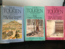 JRR Tolkien - The Lord of the Rings (3 volumes) Tolkien Art Cover 1986 Paperback