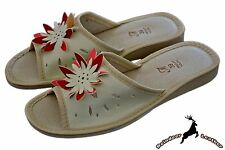 Women's Natural Leather Summer Ladies Dormie Slippers Sandals Open Toe Slip On