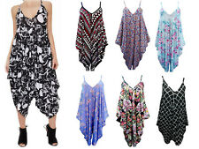 New Women's Ladies  V-neck Printed Summer Beach Harem Jumpsuit  Play-suit Top