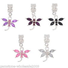 Wholesale Lots Mixed Dragonfly Dangle Beads Fit Charm Bracelet B10655