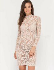 New Sexy Women Long Sleeve Sheer Floral Lace Clubwear Party Evening Mini Dress