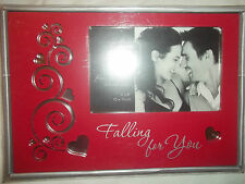 "NEW PRINZ RED FROM HEART ""FALLING FOR YOU"" 4"" x 6"" PICTURE FRAME W/MIRROR INLAY"