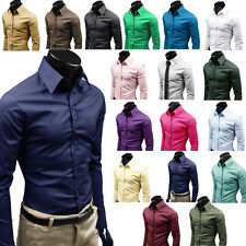 New Fashion Luxury Mens Formal Casual Shirts Slim Fit Dress Shirts 17 Colours