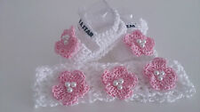 BABY CROCHET SALDALS AND HEADBAND/HANDMADE SHOES WITH FLOWERS AND PEARLS/GIRLS